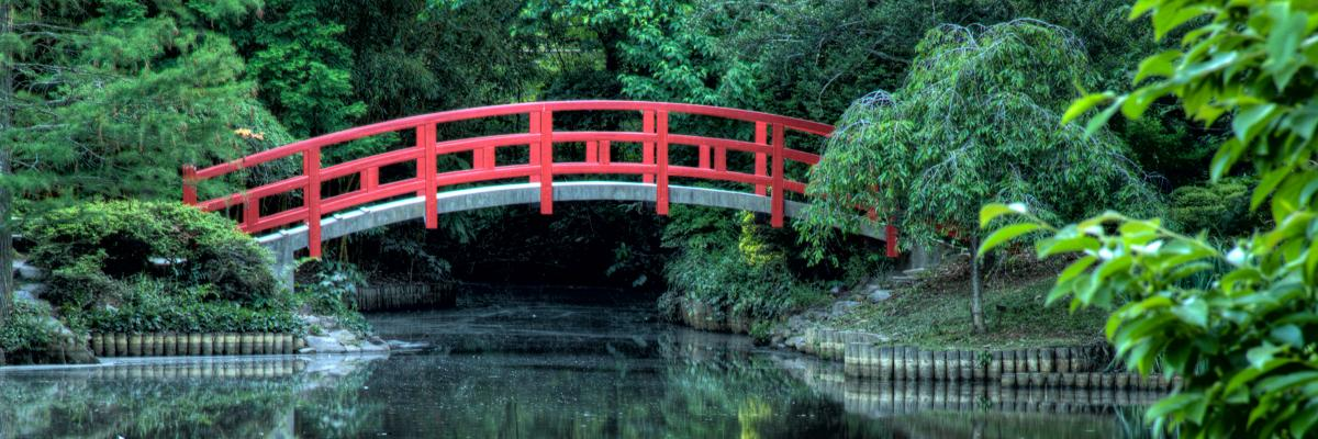 Red bridge over pond at Duke Gardens