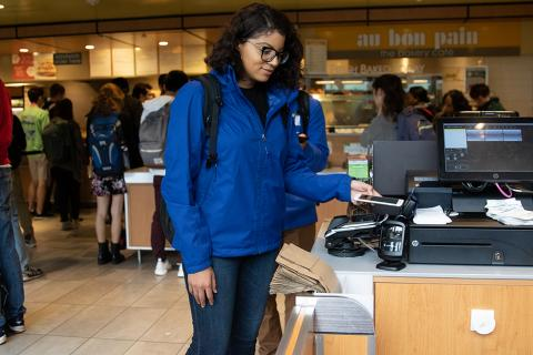 Duke student using iPhone to pay at dining location