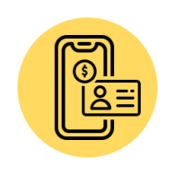 Simple illustration of a smartphone, ID card, and money coin on a yellow circle background